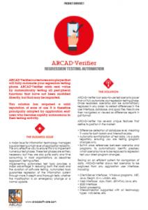 ARCAD Verifier Datasheet Cover